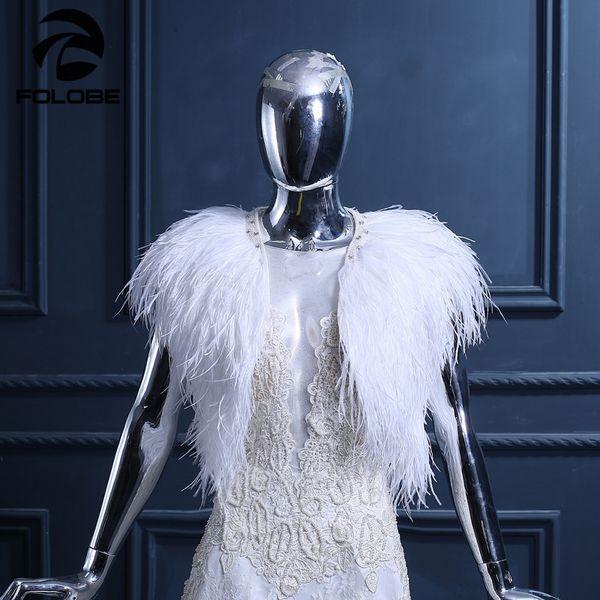Luxury White Ostrich Feather Wedding Wraps Cape Bridal Jackets Womens Fashion Wedding Shawls Marriage Bride Cape