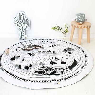 best selling Hand Printed Kids Play Game Mats Baby Room Crawling Blankets Children Play Rugs Nursery Padded Round Racing Games Carpet 100% Cotton 95cm