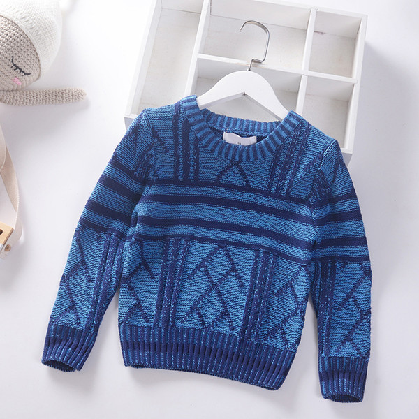 top popular 2019 New Autumn Winter Kids Boy Sweater Coat Stripe Children Thick knitting Clothing Baby Jumper Cotton Leisure Boys Pullover 4-9y 2021
