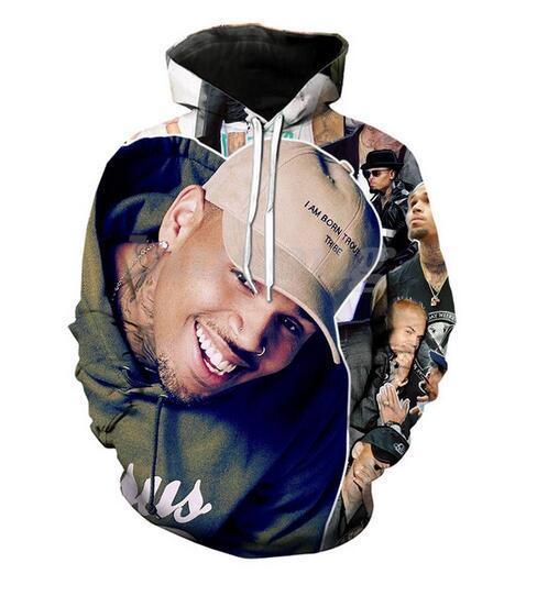 Nouveau Mode Hommes Femmes Chris Brown Drôle 3d Sweats À Capuche Automne Hiver Casual Imprimer À Capuche Pulls Tops WR095