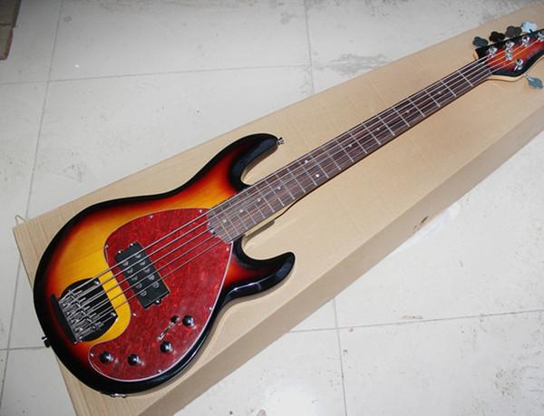Бесплатная Shipping5-строка табака Sunburst электрическая бас-гитара с Красной черепахой оболочки Pickguard, Палисандр гриф, предложение индивидуальные