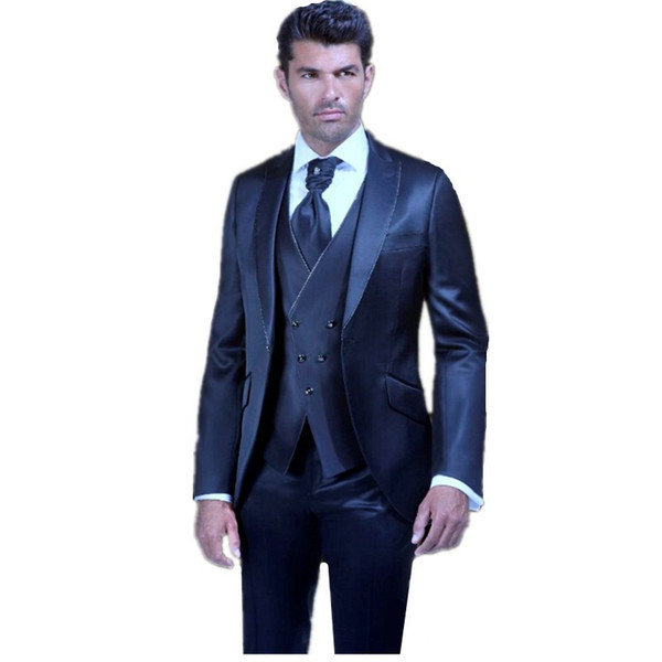 New Style Groom Tuxedos Shiny Navy Blue Groomsmen Peak Lapel Best Man Suit Wedding/Men Suits Bridegroom ( Jacket+Pants+Vest+Tie ) A283
