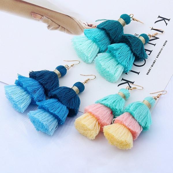 top popular New 9 Colors Handmade Long Tassels Earring Three Layers Colors Match Fringe Ear Drop Bohemia Style Stud Jewelry Women Wholesale 2021