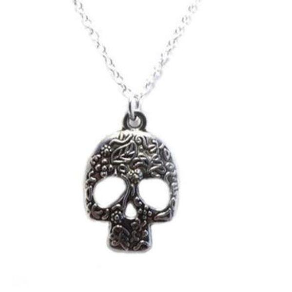 Sugar Skull Necklace Vintage Silver Skeleton Mask Om Unicorn Opals Bead Witch Pentagram Demon Eye Gothic Necklace Pendant Women Jewelry