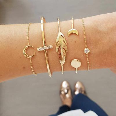Women Leaves Geometric Chain Gold Bracelet Set Adjustable Open Cuff Bangle Charms Statement Bracelets Bohemian Jewelry Christmas Gift M263F