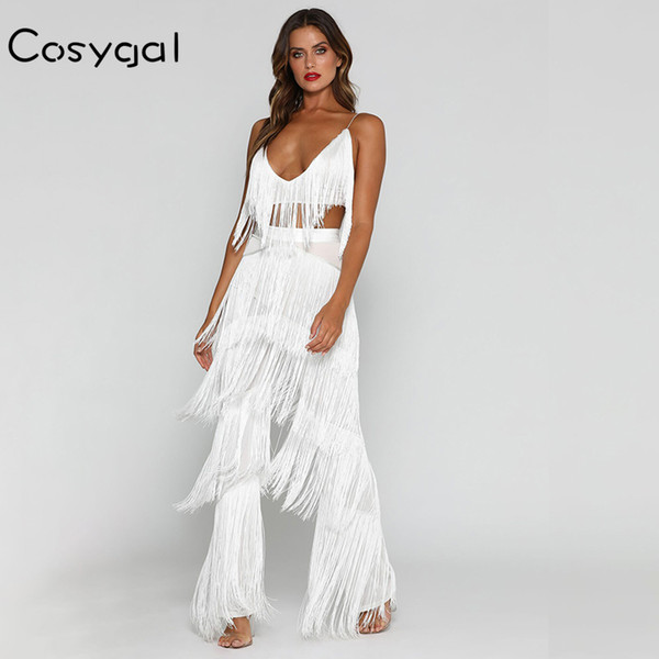 Cosygal Spaghetti Strap Women Romper Jumpsuit Romper Tassel Sleeveless Red Sexy Long Playsuits Elegant V Neck Solid Playsuits Y19060501