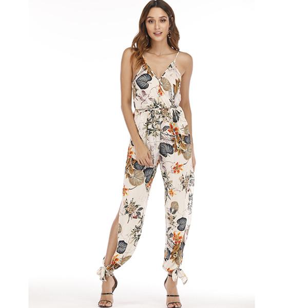 Female Jumpsuit for Women 2019 Floral Print Jumpsuit Trousers Female Bohemian Rompers Womens Jumpsuit Long Pants Summer