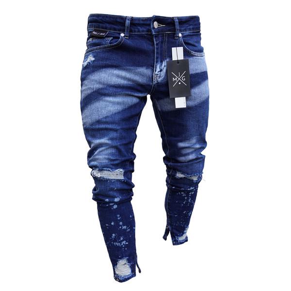 Washed Blue Mens Jeans Clothing Color Gradient Pencil Jean Pants Long Slim Fit Zipper Biker Jeans
