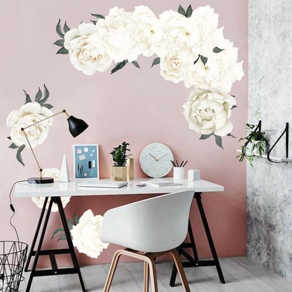 3D Peony Rose Flowers Wall Stickers White Vintage Wallpaper For Bedroom  Living Room Decals Mural Home Decor Kid Girls Gift Owl Wall Stickers  Peelable ...