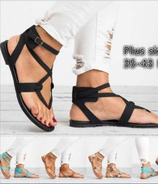 Amazon Wish AliExpress Внешняя торговля Взрыв поставки Летние плоские большие размеры женские сандалии большого размера