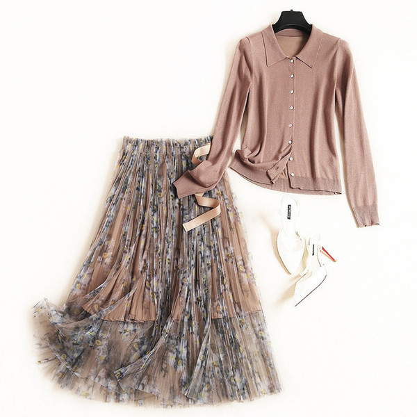 New 2019 Autumn Fashion Womens Knit Sweater Cardigan + Sashes Lace Up Print Mesh Long Skirts Suit Cute Two Piece Set