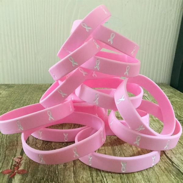 1pc Brustkrebs-Bewusstseinsband Sportsilikon-Kautschuk-Armband Armband Verschiffen