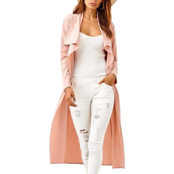 capa de chuva Collar Turndown das mulheres Manto Manga comprida Feminino de vento Brasão Mulheres jaqueta casual de Slim com Pink Belt cor sólida