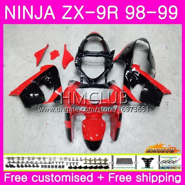 Corpo para KAWASAKI NINJA ZX900 ZX9 R ZX 900 ZX-9R 98 99 carroçaria 68HM.0 900CC ZX 9 R ZX9R 98 99 ZX 9R 1998 1999 Kit de carenagens Fábrica vermelho preto