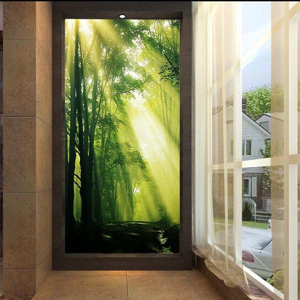 Kundengerechte Vliestapete des großen Wandgemäldes, sonniger Holzwaldgroße Baummorgengrün erneuernde HD-Tapete
