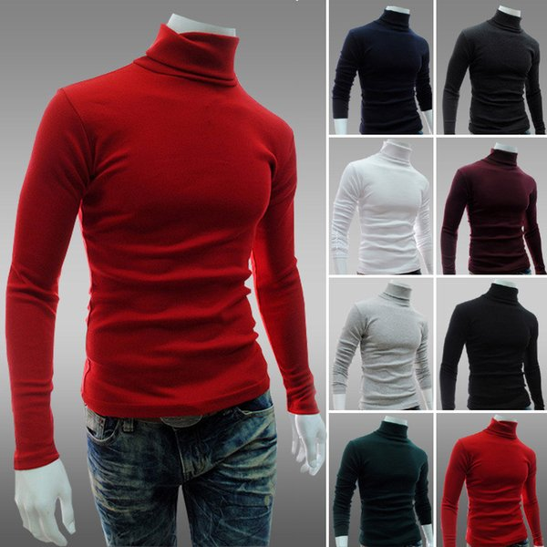 Fashion Mens Shirts Mens Clothes Autumn Long Sleeve Slim Fit T Shirt Men Cotton T-Shirt Casual Solid Color T Shirts
