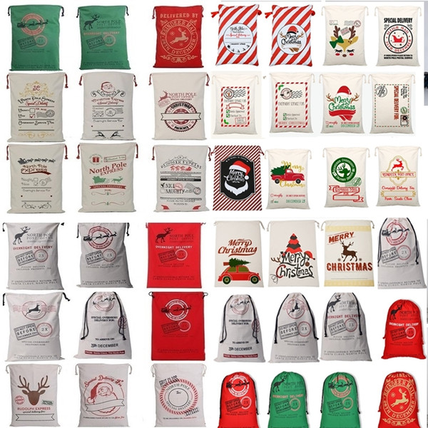 best selling New 36 colors Christmas Bags Large Organic Heavy Canvas Bag Santa Sack Drawstring Bag With Reindeers Santa Claus Sack Bags for kid 4549