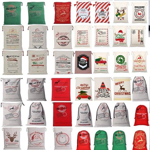 top popular New 36 colors Christmas Bags Large Organic Heavy Canvas Bag Santa Sack Drawstring Bag With Reindeers Santa Claus Sack Bags for kid 4549 2019