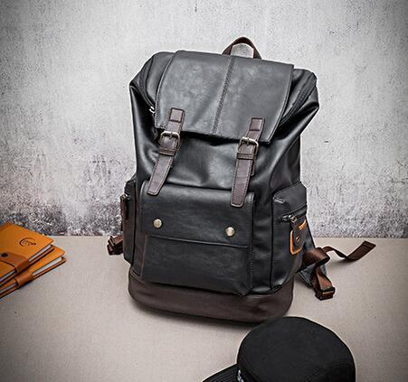 Wholesale brand high-quality male package Korean mens casual backpack large color flip man backpack leisure travel Leather Backpack