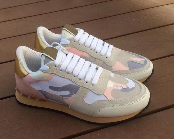 2019 Stud Rockrunner Camouflage Baskets Chaussures Designer Mesh cuir véritable Combo rock Runner sneakers pour hommes femmes Semelle en caoutchouc avec boîte C26