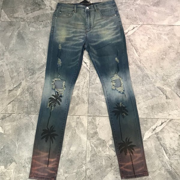 2019 2018 Best Quality 1a:1 Palm Tree Printed Men Jeans Streetwear Hiphop Brand US Fashion Men Ripped Jeans Denim Jeans From Yingyingyanyan, $70.05 |