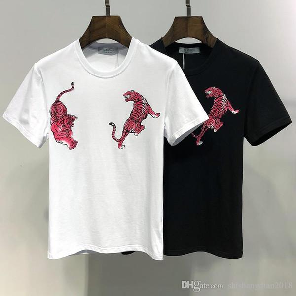 19SS neue hochwertige Sommer Herren T-Shirt Marke Rundhals Tiger Druck Casual Fashion T-Shirt Größe M-XXXL
