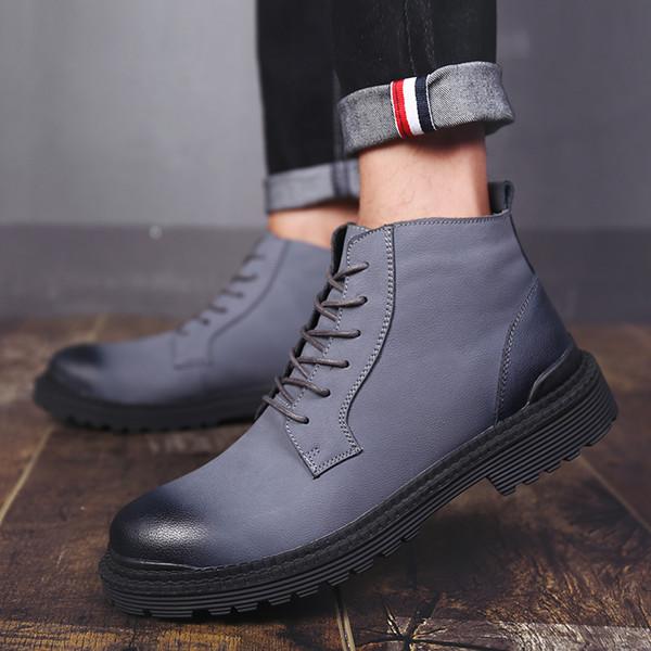 Compre Botas De Hombre Zapatos De Trabajo Zapatos De Vacuno De Cuero Para Hombre Zapatillas De Deporte De Moda Botas De Tobillo De Primavera Verano