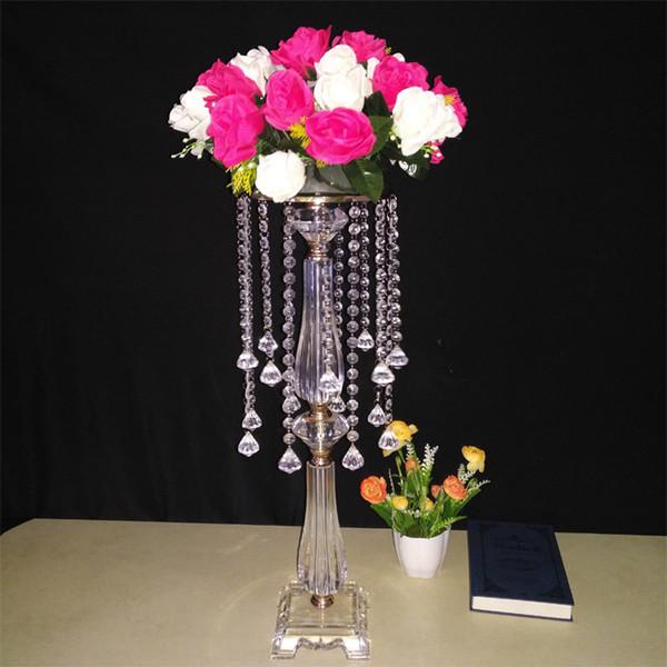 2019 modern wedding table flower centerpieces flower vase stand crystal metal vase for wedding cake cupcake flowers hotel props ornament