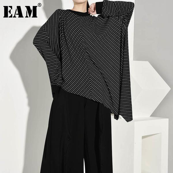 [EAM] Женщины черный полосатый Асимметричный большой размер футболки Новый шею длинным рукавом Мода Tide весна осень 2019 JQ390