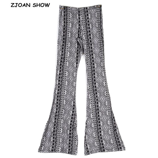 2019 New Black Geometric Print Flare Hosen Frauen Bohemian Tribal African Print Lange Hosen Bell Bottom Leggings Hippie Hosen