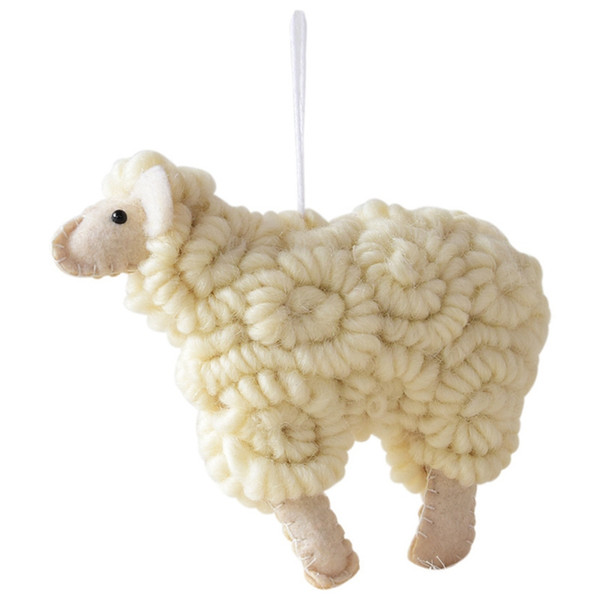 Handwork Curly Mouton d'arbre de Noël Ornement Pendentif Hanging Felt Sheep Home Cadeau de Noël Décoration
