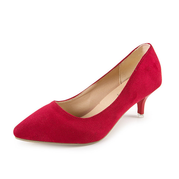 Shoes Plus Size 35-42 Spring Autumn Women Office lady Pumps Med Heels Boat Low heel Basic Pump Shallow dress