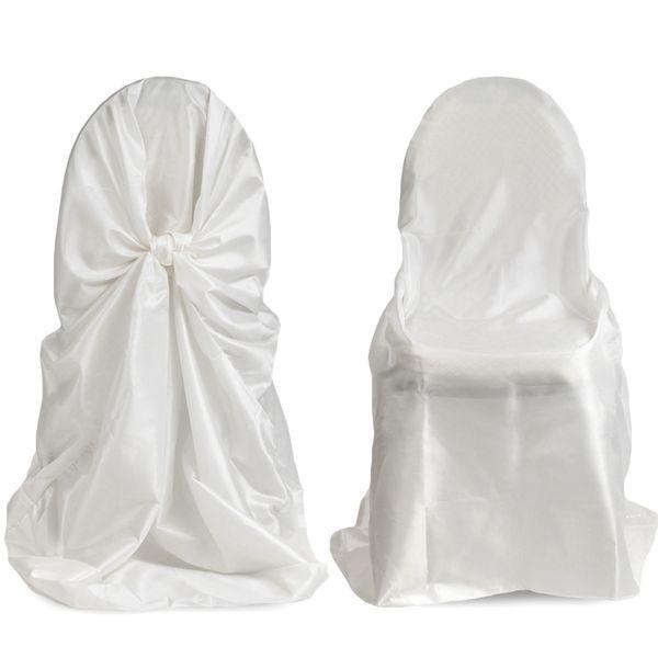 Funda de silla universal de satén de 50 piezas para boda, funda de silla de corbata para favores de fiesta de boda de restaurante de fiesta con alta calidad