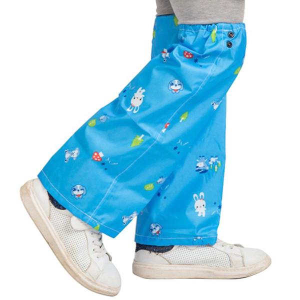 Sıcak Satış Sevimli Pembe Mavi Oxford Bez Açık Tırmanma Yağmur Dişli çocuk Karikatür Desen Yağmur Geçirmez Pantolon Kol M-XL