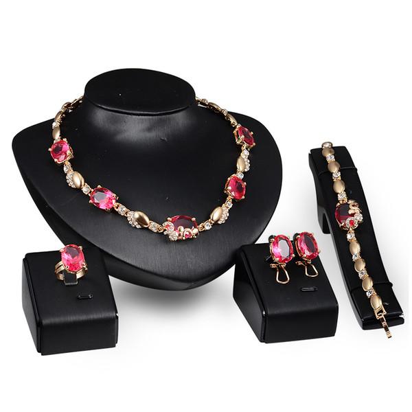 Bilezikler Kolye Yüzükler Küpeler Setleri Moda Kadınlar Kraliyet Lüks İmitasyon Taş 18 K Altın Kaplama Düğün Takı 4-piece Set JS062