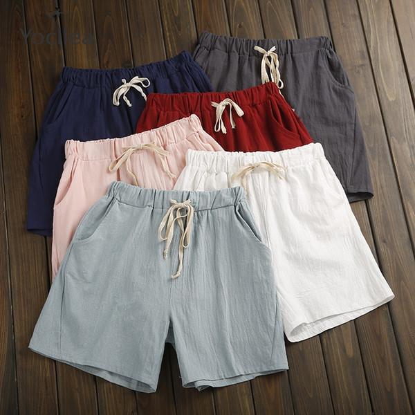 Shorts de verão Mulheres Calças de Linho de Algodão Calças feminino Elastic Wasit Casa Solta Casuais plus size com Bolso