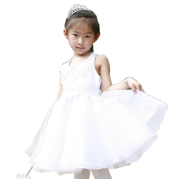 White A line V neck front Halter lace bodice taffeta & beaded bodice tulle skirt with Appliques & Sequins Baby Girls Formal Dress 1157701