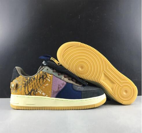 Nike AF1 x Travis Scott TS Brochage Fermeture à glissière TS AA Travis Chaussures de course pour hommes sport Entraîneur femmes ShoesSports mode forcé les hommes
