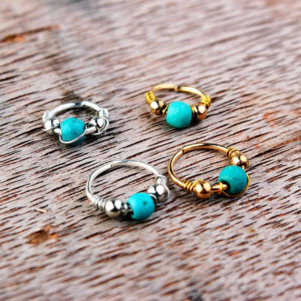 2020 Designer Nose Rings Luxury Turquoise Nose Studs Ring Women