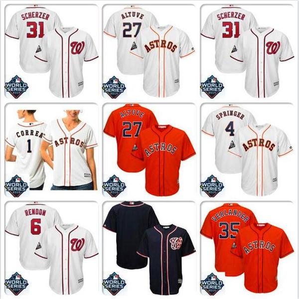 Hombres José Altuve Houston Astros Jersey Justin Verlander Max Scherzer Juan Soto Nacionales Serie Mundial Bound jerseys oficiales de béisbol negro