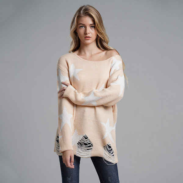 Women's Winter Star Printed Tassels Sweater 2018 Autumn Female Fashion Knitted Tops Ladies Warm Casual Hole Out Pullover Jumpers
