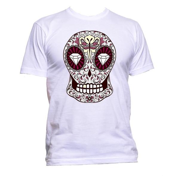 Sugar Skull Grey Coloured With Diamond Design T-Shirt Mens Womens Unisex Fashion denim clothes camiseta t shirt