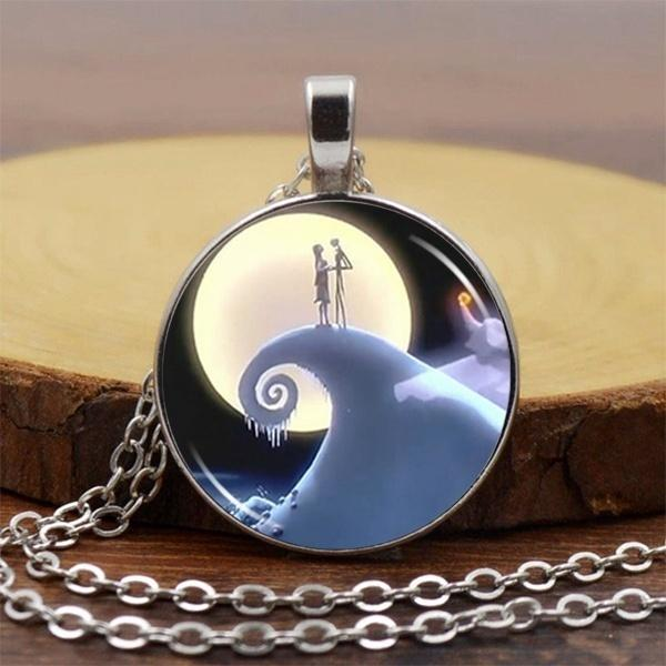 2018 New Fashion The Nightmare Before Christmas Cabochon Tibetan Silver & Black Glass Chain Pendant Gifts