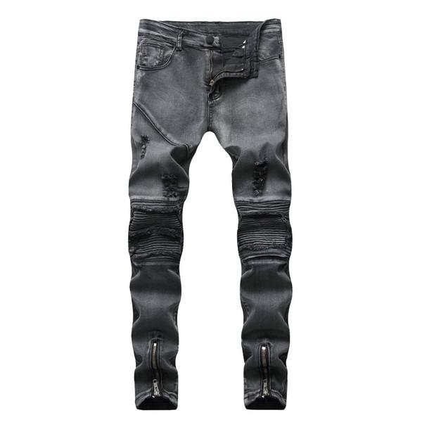 Wholesale 2018 Fashion Washing Casual Dark grey Distressed Ripped hole Pleated snow motorcycle biker Zipper leg Skinny jeans men