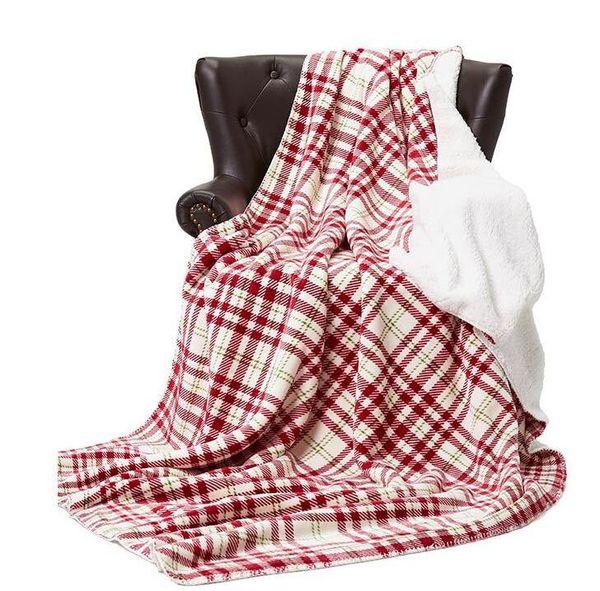 152cm * 230cm Flanelle Toison Plaid Couverture douce et chaude couvertures à rayures double Tapis en peluche Cape Portable emmailloter GGA2672 Litières