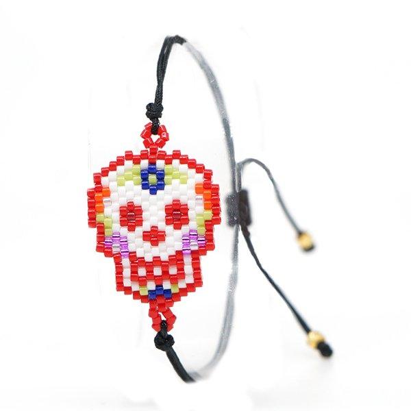 JOYE Skull Halloween Bracelet perles câble Boho MIYUKI Bracelets Antique main Les femmes ajustables hommes cheville Bracelet