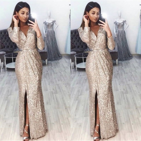 Sexy V Neck Split Long Sleeves Mermaid Prom Evening Dresses 2019 Elegant Gold Champagne Glitter Party Prom Dress