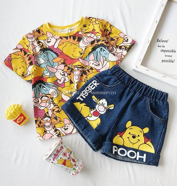 Cartoon Clothing Set Summer  t-shirt with Letter Casual Printed Shorts 2PCS