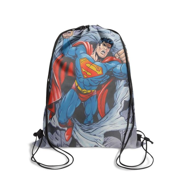 Drawstring Sports Backpack superman artwork superman comic book art gallerypersonalized daily pull string Travel Fabric Backpack