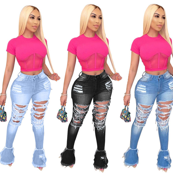 top popular Women Denim Flared Long Pants Bell Bottom Jeans Trousers Sexy Hole Ripped Full Length Leggings Bodycon Streetwear Stylish Clothing 856 2020